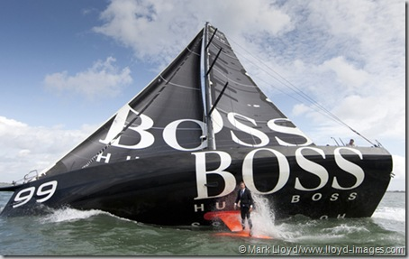 "Pictures of Alex Thomson (GBR) standing on the keel of his IMOCA Open 60 ""Hugo Boss"". Solent UK  Credit all pictures:Lloyd Images."
